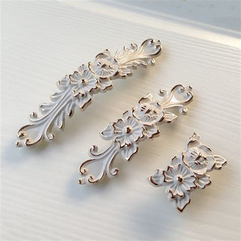 french country cabinet knobs shabby chic dresser drawer pulls handles off white gold
