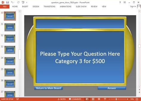 jeopardy game templates  powerpoint