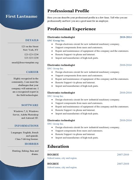 curicculum vitae resume templates 380 to 385 free cv template dot org