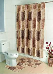 Brown floral casual bathroom shower curtain bath contour for Bathroom shower curtain and rug set