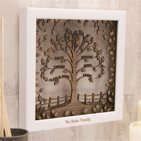 personalised wooden  traditional family tree wall art