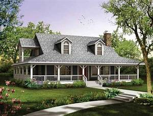 House plans with wrap around porches style house plans for Country house with wrap around porch floor plans