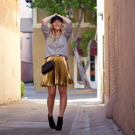 Metallic Pleated Skirt Metallics Pinterest Skirts