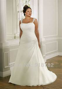 simple style shoulder straps chiffon beaded plus size With chiffon plus size wedding dress