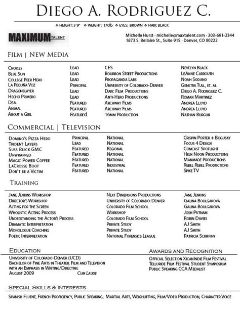 commercial acting resume sle 100 http topresume