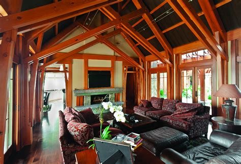 Home Interior Framed by Timber Frame Great Rooms New Energy Works