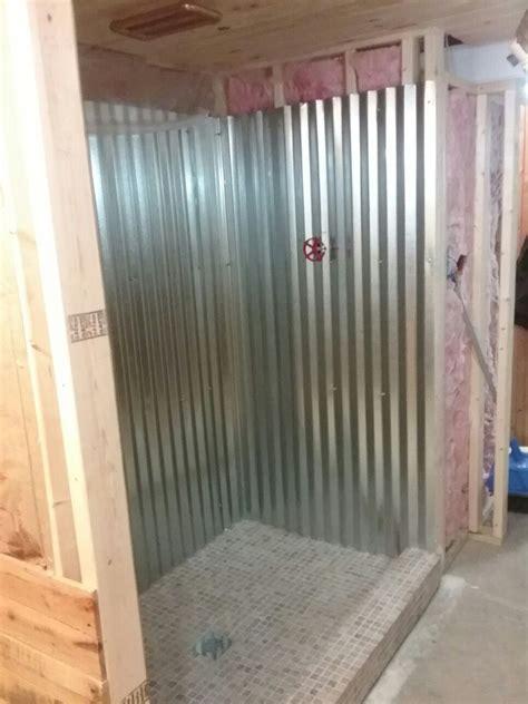 galvanized metal shower surround tin shower walls log
