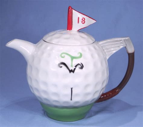 tony wood golf ball novelty teapot sold collectable china