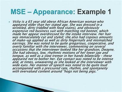 Mse Example Appearance Mental Status Examination Presentation