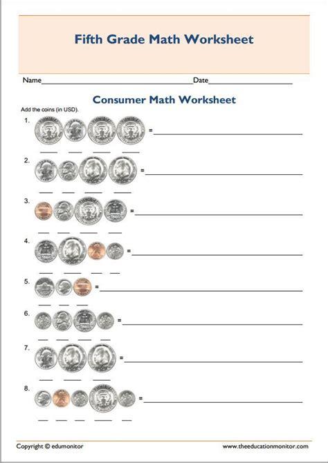 printable grade 5 consumer mathematics worksheet fifth