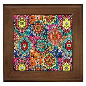 moroccan colours wall art framed ceramic tile home patio With moroccan wall art