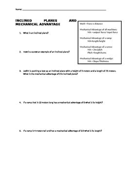 Mechanical Advantage Of Inclined Planes Worksheet (editable Version