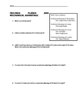 Inclined Plane Worksheet  Kidz Activities