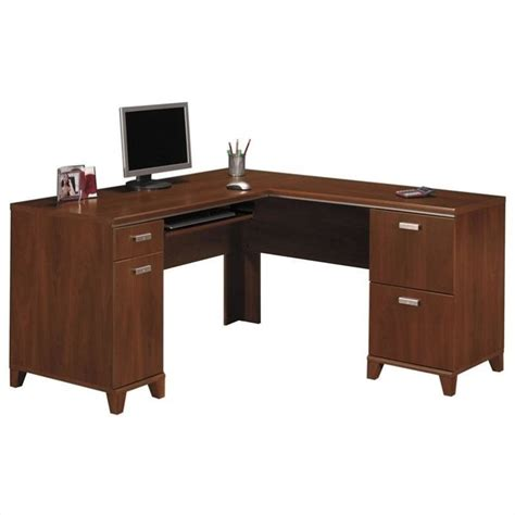 used l shaped computer desk tuxedo l shape wood computer desk in hansen cherry wc21430