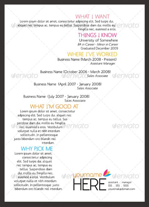 resume fonts and layouts sinewave resume template a4 letter graphicriver