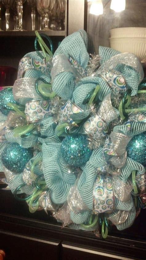 turquoise christmas wreath turquoise blue deco mesh wreath deco mesh decorations pinterest