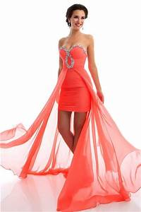 High Low Strapless Coral Chiffon Beaded Homecoming Party ...