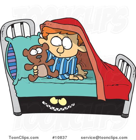 cartoon monster scaring a boy under a bed 10837 by ron