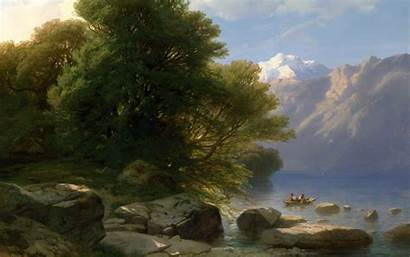 Classic Painting Boat River Rock Trees Wallpapers