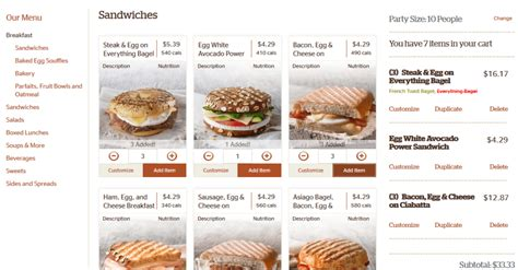 Panera Boxed Lunch Catering Menu Printable