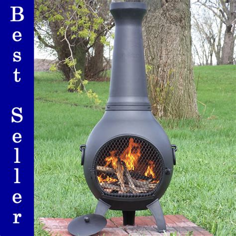 Large Chiminea by Prairie Chimenea Cast Aluminum Outdoor Fireplace Blue