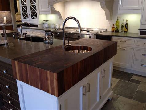 chopping block countertop thick walnut end grain top with prep sink brooks custom
