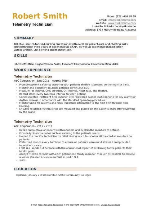 telemetry technician resume samples qwikresume