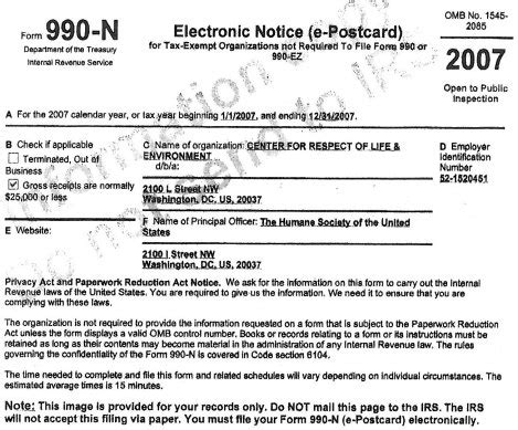 2007 crle form 990 humanewatch