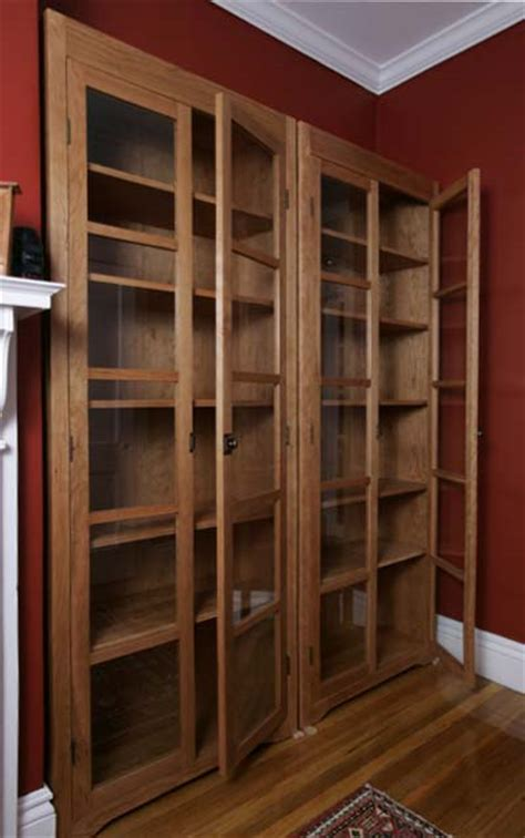 Bookcase Glass Door by Freestanding Cherry Bookcases Vt Handmade Free Standing