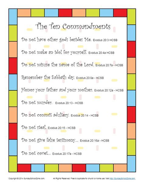 ten commandments  kids scripture poster