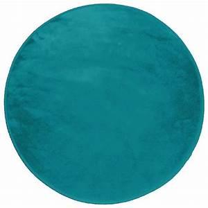 tapis rond 0 90 cm velours uni louna bleu lagon achat With tapis rond bleu