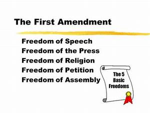 1 st Amendment Congress shall make no law respecting an ...