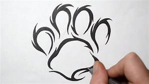 How to Draw a Paw Print - Tribal Tattoo Design Style - YouTube