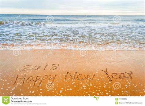 Happy New Year 2018 Write On Beach Stock Image