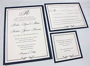 formal navy blue belly band wedding invitations with With pictures of formal wedding invitations