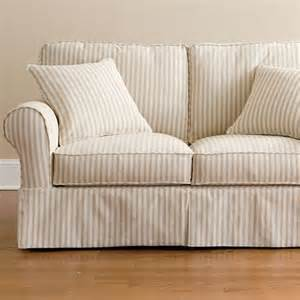 friday stripe slipcovered loveseat tan stripe