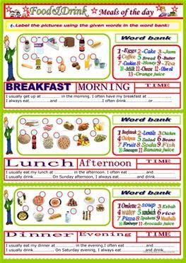 english esl meals worksheets  downloaded  results