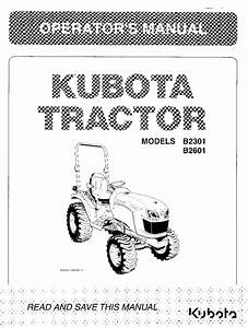 Kubota B2301 B2601 Operation Manual Pdf Download - Service Manual