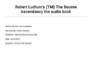 Robert Ludlum's (TM) The Bourne Ascendancy the audio book