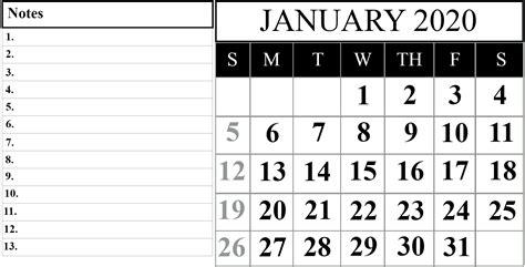 january  printable calendar template   word