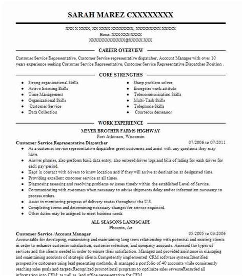 resume services wisconsin customer service representative resume exles in wisconsin livecareer