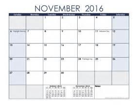 November 2016 Calendar with Holidays Printable