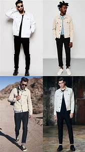 Menu0026#39;s Black Jeans With White Denim Jacket Combinations ...