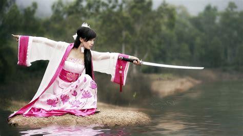 Asian, Sword, Women, Katana, Kimono, Lotus Flowers, Pink