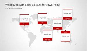 Color Fresh Color Chart World Map With Color Callouts For Powerpoint Slidemodel
