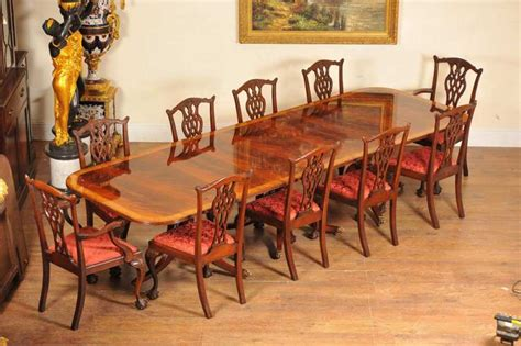 regency dining set pedestal table and 10 chippendale