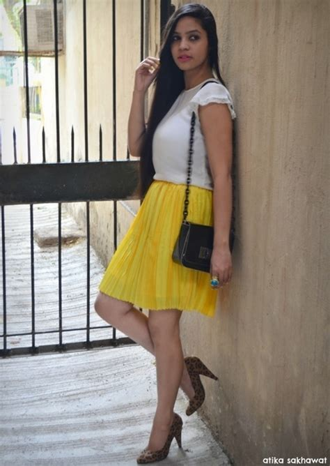 Outfit of the Day Yellow Pleated Skirt