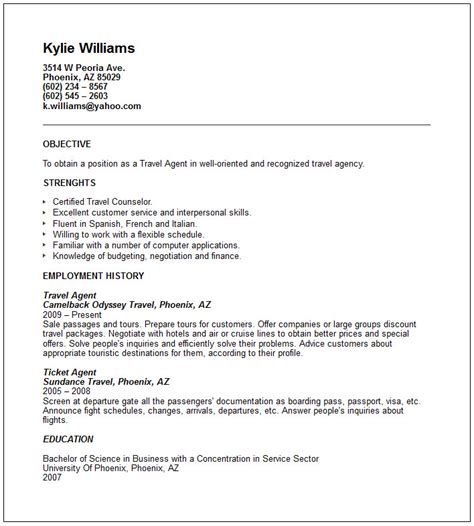 Tourism Resume Format by Travel And Tourism Industry Resume Exles