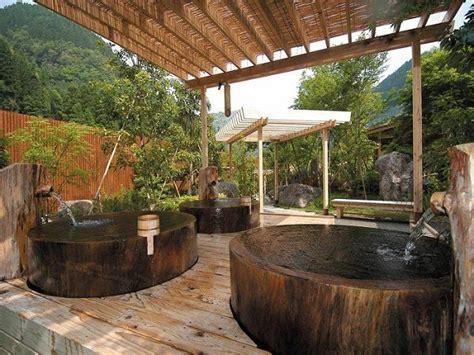 outdoor japanese ofuro soaking tubs wood pergola spa experience   garden yard dreams