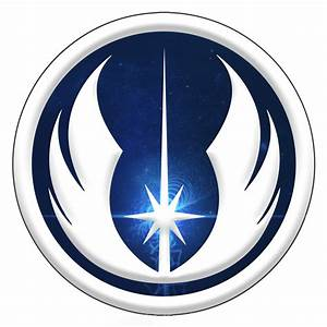 Jedi Inspired Silver Blue Symbol Order Sticker 5""